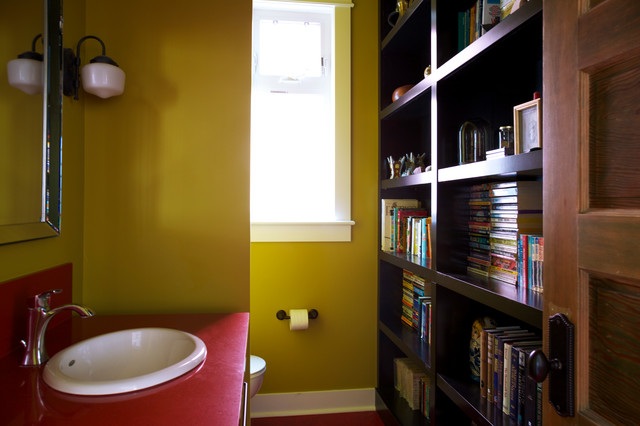 Medium sized classic cloakroom in Calgary with yellow walls, a built-in sink and laminate worktops.