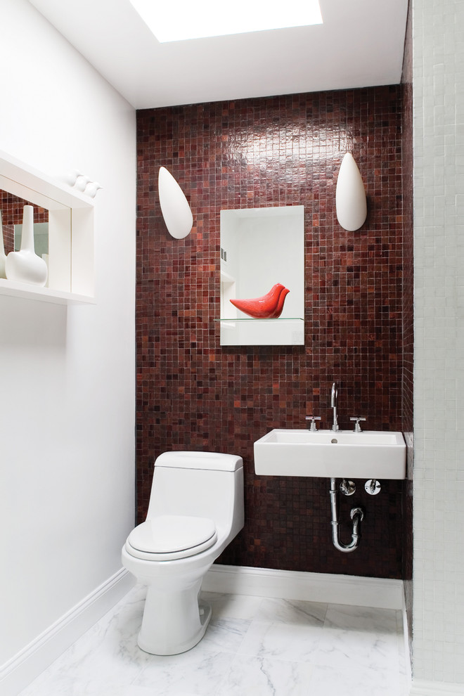 Inspiration for a contemporary red tile powder room remodel in DC Metro with a wall-mount sink