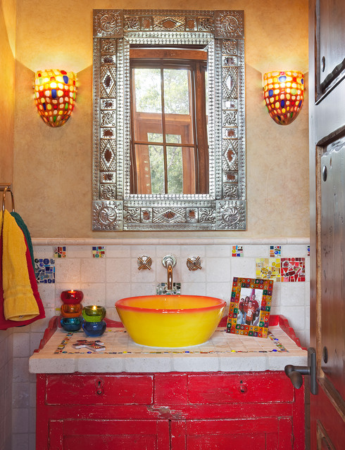 Texas Hill Country Style Southwestern Powder Room Austin By Refined Interiors Llc