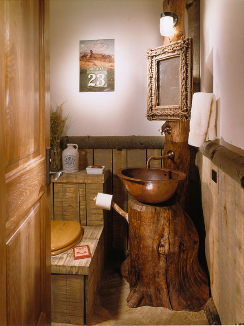 The bachelor gulch lodge rustic powder room denver for Cabin bathroom ideas