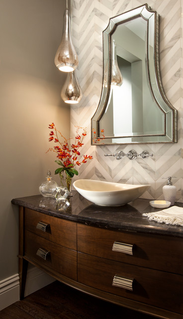 Tiled Powder Room Robeson Design Transitional Powder