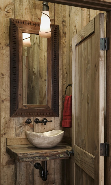 timber lodge rustic powder room san francisco by