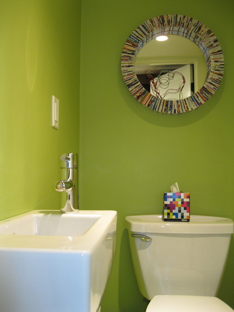 Tiny, Bright Green Powder Room With Duravit Wall Mount