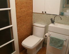 Tiny laundry/powder room contemporary bathroom