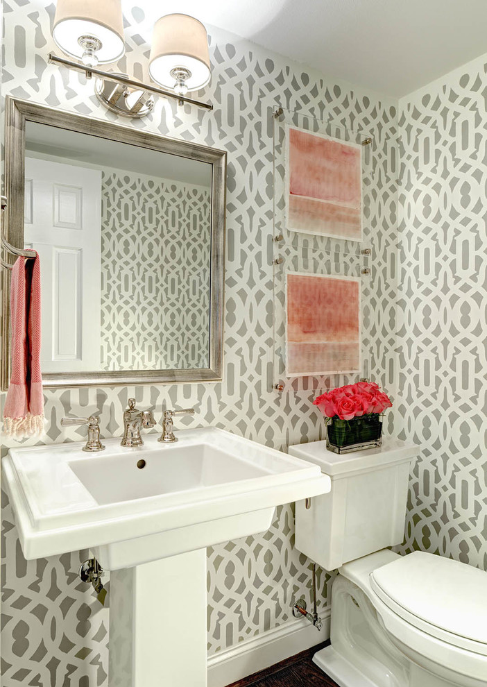 Inspiration for a transitional powder room remodel in Charlotte with a pedestal sink and a two-piece toilet