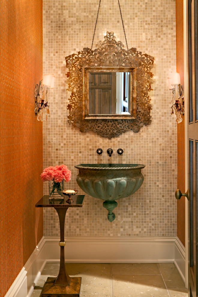 Powder room - traditional mosaic tile powder room idea in Nashville with a wall-mount sink