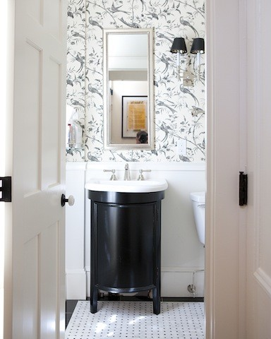 Traditional Powder Room In Classic Black And White