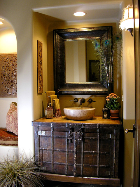 Transitional comfort traditional powder room phoenix - Powder room sink ideas ...