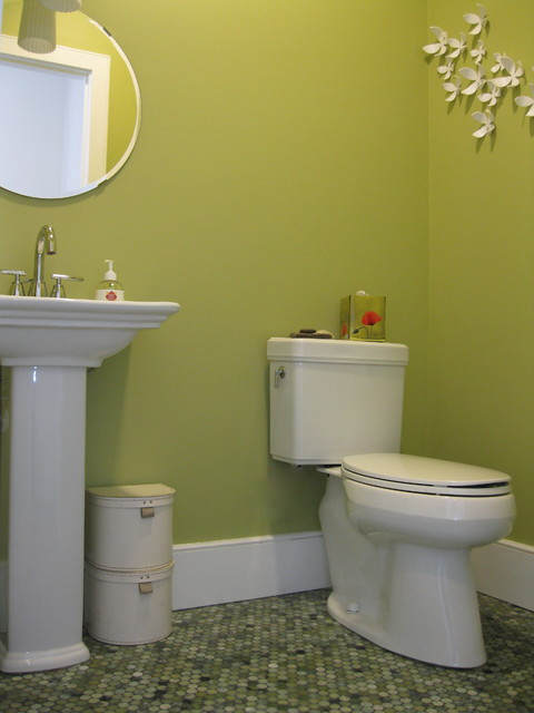 transitional powder room with mixed jade penny tile floor and pedestal sink eclectic powder - Powder Room Pedestal Sink