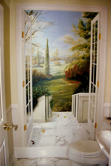 Trompe l 39 oeil traditional powder room new york by for Deco trompe l oeil mural