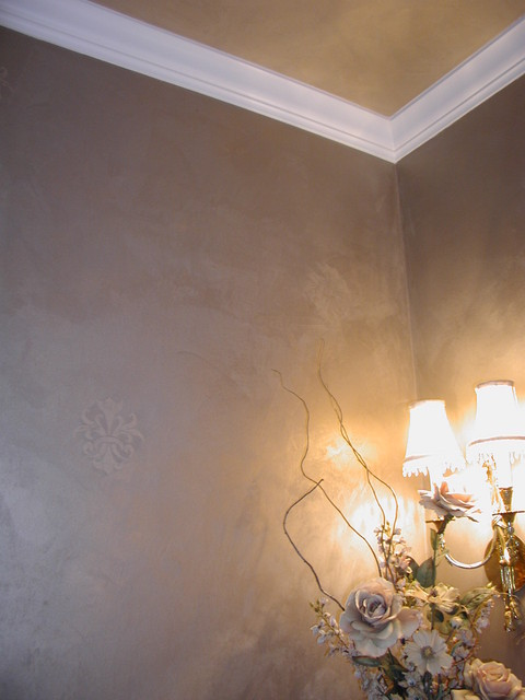 Troweled Metallic Plaster Powder Room Ceiling And Walls