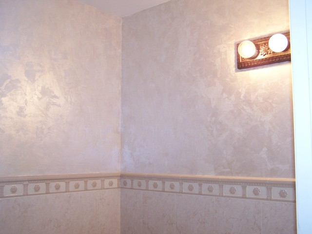 Troweled on multicolor paint finish transitional-powder-room