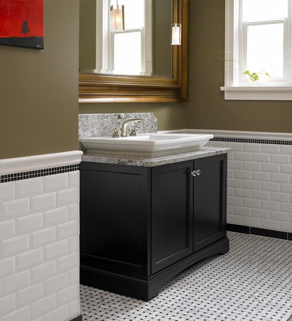 Tudor style home traditional powder room vancouver for Tudor bathroom design