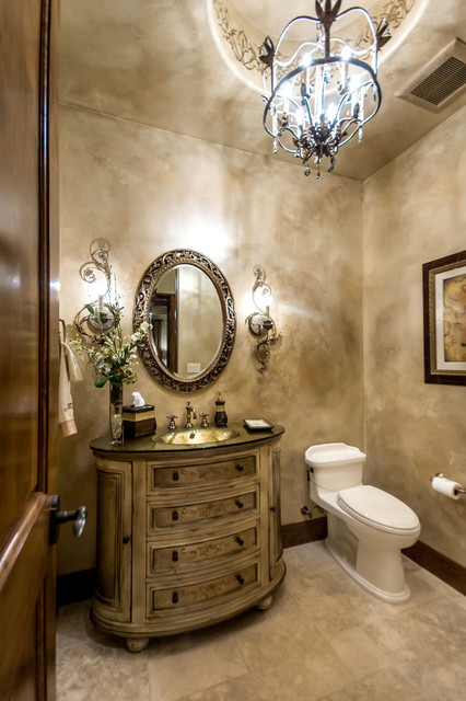 Tuscan Estate Mediterranean Powder Room San