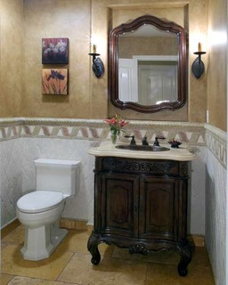Tuscan Twist To A Track Home Traditional Powder Room
