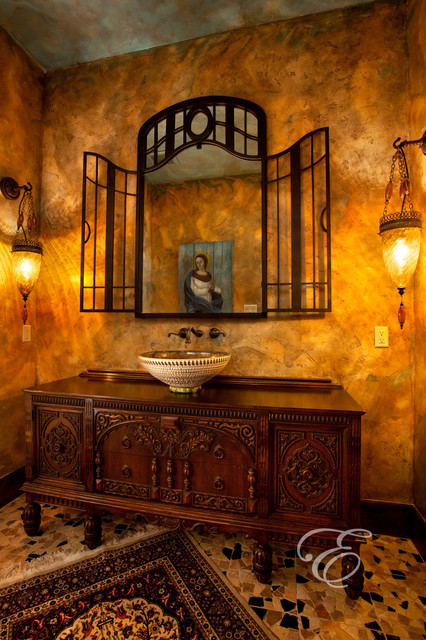 Upscale Tuscan Mediterranean Powder Room Houston