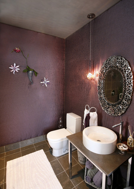 Urban Glam Guest Bedroom Eclectic Powder Room Dallas