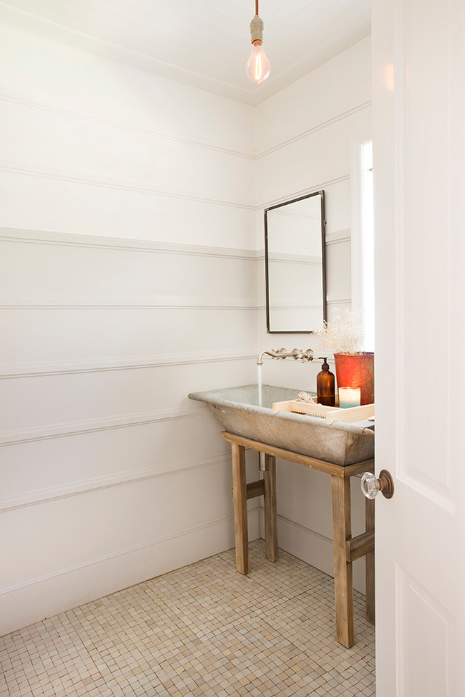 Country mosaic tile floor powder room photo in Los Angeles with a trough sink