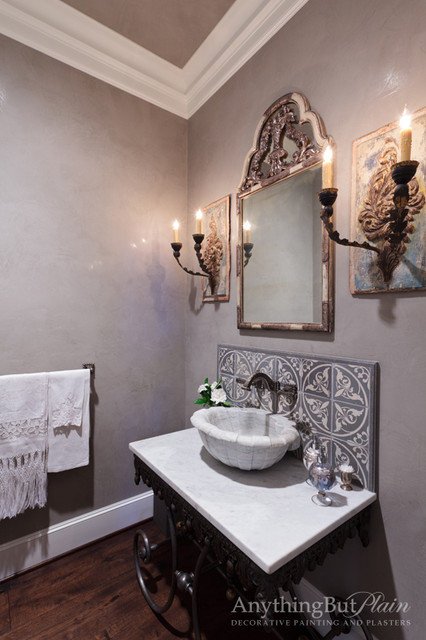 Venetian Plaster Powder Bathroom Mediterranean Powder