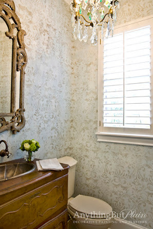 Venetian Plaster With Damask Pattern Powder Room
