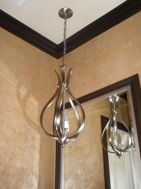 Venitian plaster in powder room pendant light in bathroom for Powder room light fixtures