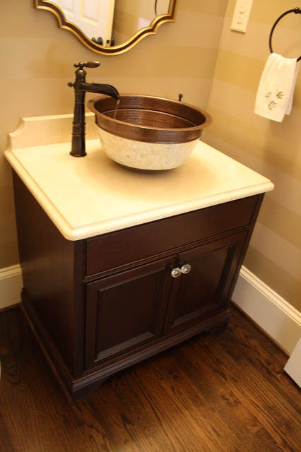 very cool powder room with great neutral colors  - traditional - powder room - charlotte