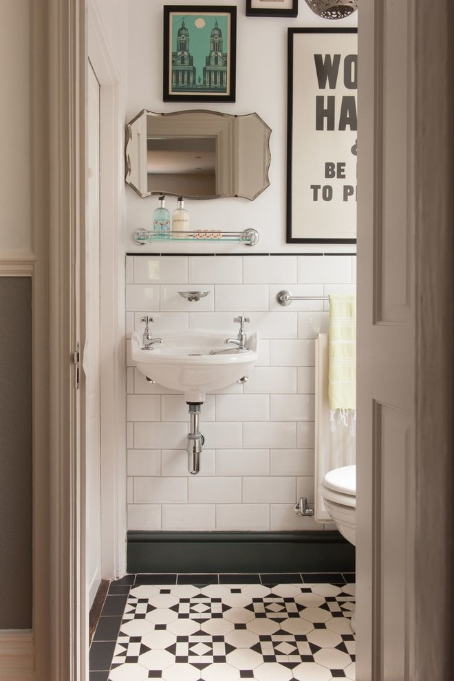 Vintage Bath With Black White Tile Traditional Powder Room London By Herbeau Winckelmans Tiles Line Art Vanities Houzz