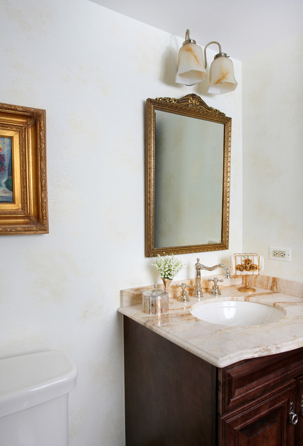Vintage style bathroom in a tudor home traditional powder room chicago by normandy Bathroom light fixtures chicago