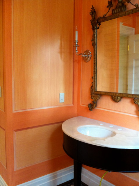 wall finishes traditional-powder-room