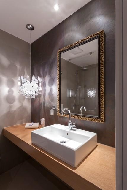 Wallpaper Stone Veneer Mediterranean Bathroom