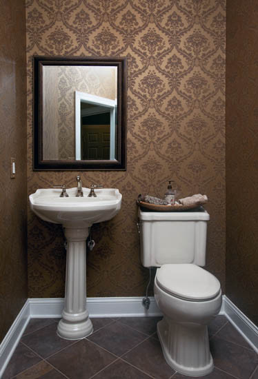 Wallpapered Powder Room traditional powder room