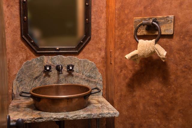Water tower inspired home half bath vanity rustic-powder-room