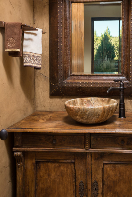 Water tower inspired home wood vanity - Rustic - Powder Room - Other ...