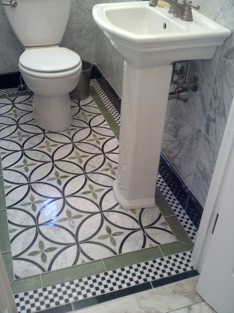 Waterjet Powder Room eclectic powder room