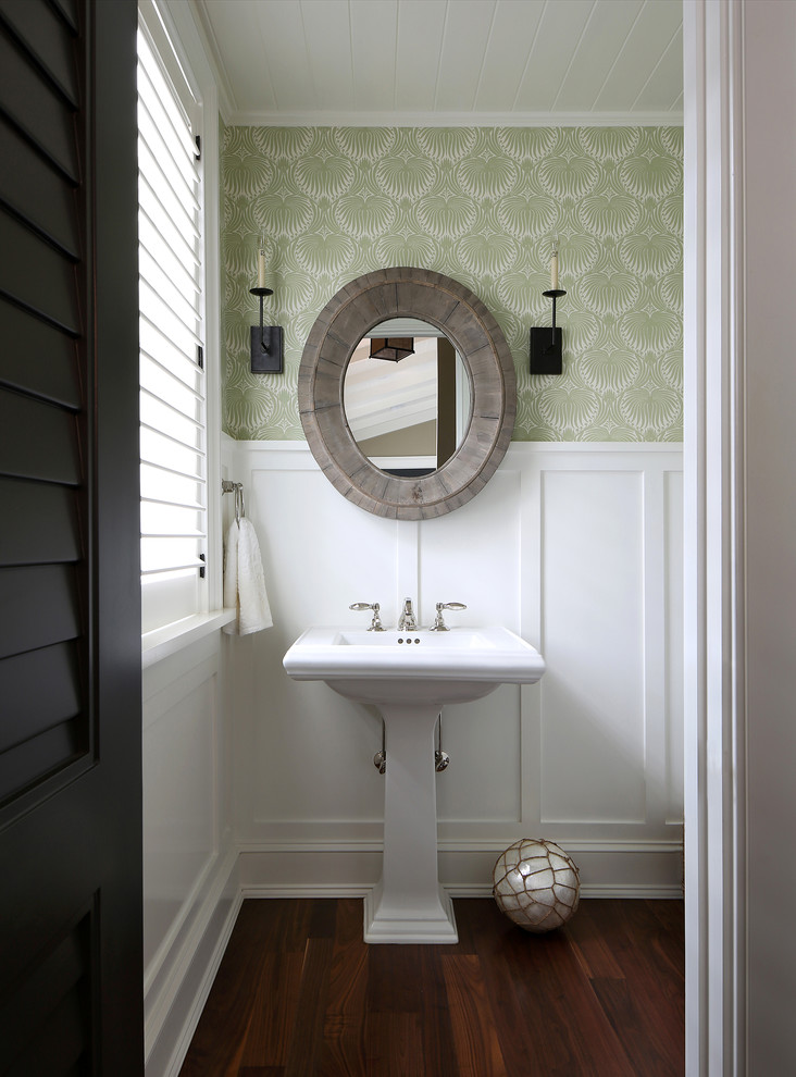 Example of an island style powder room design in Tampa