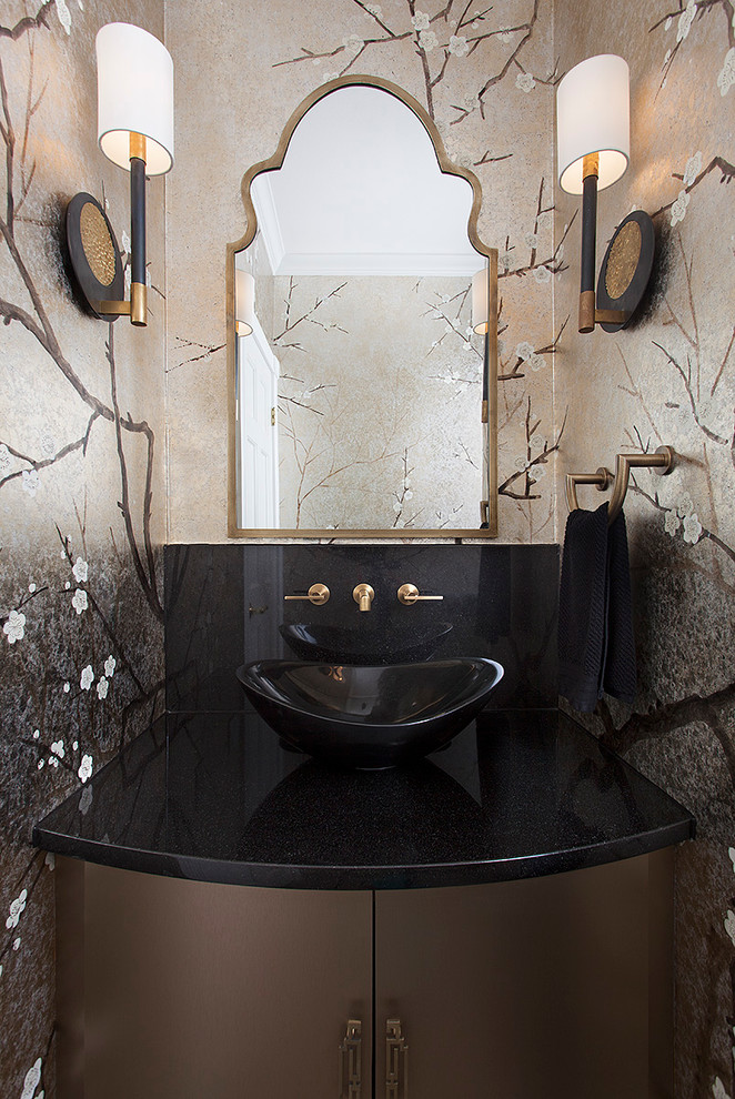 Powder room - transitional powder room idea in Austin with furniture-like cabinets, a vessel sink and gray walls
