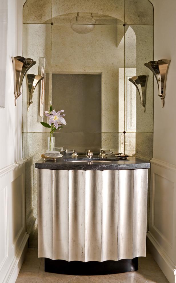 Powder room - transitional mirror tile powder room idea in Los Angeles