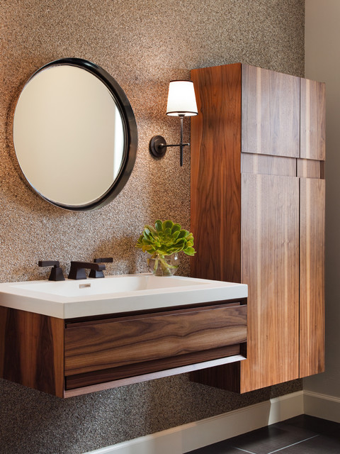 Example of a trendy powder room design in San Francisco with flat-panel cabinets, medium tone wood cabinets and a wall-mount sink
