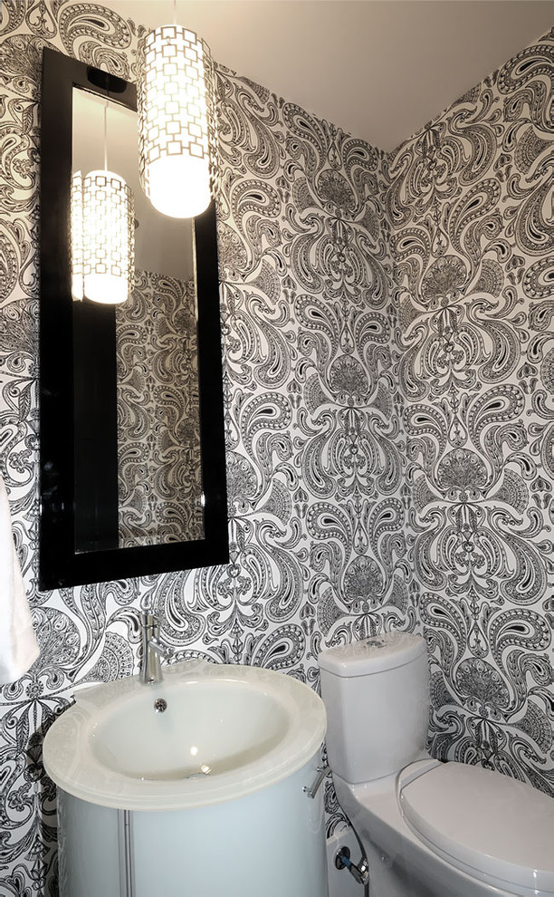 Example of a trendy powder room design in Other with a drop-in sink and white cabinets