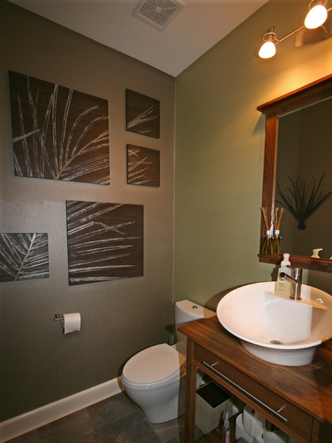 Wooded 2-Story contemporary-powder-room