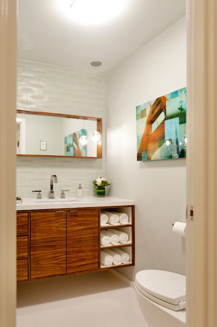 Zebra Wood Vanity - Contemporary - Powder Room - San Francisco - by Farallon Construction Inc.