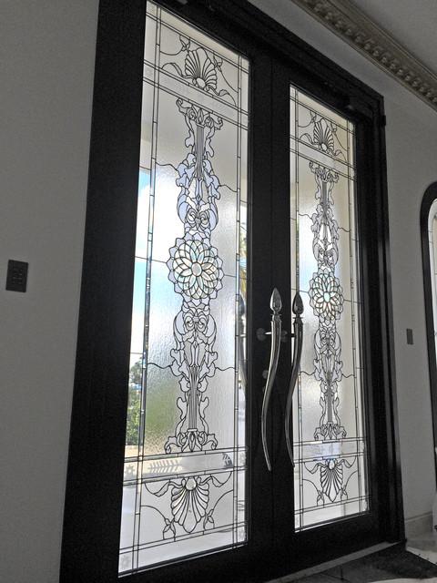 Vidrieras puertas de entrada biselados cl sico hall y - Vidrieras para puertas ...