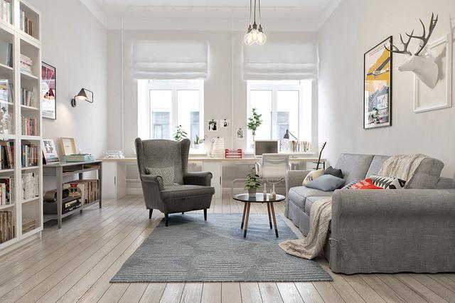 Diseño de sala de estar con biblioteca escandinava, de tamaño medio, sin televisor y chimenea, con paredes blancas y suelo de madera en tonos medios