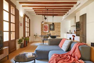 sala de estar con comedor y cocina abierta コンテンポラリー-ファミリールーム