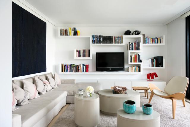 Vista del sal n con el mueble biblioteca multimedia for El mayorista del mueble