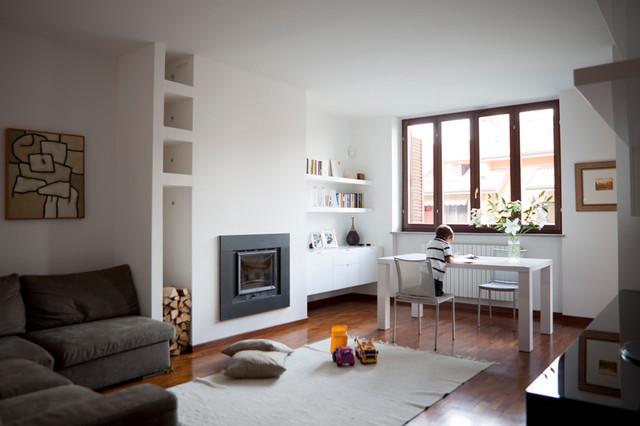 progettazione di interni arredo zona giorno moderno