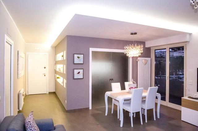 Progettazione ristrutturazione appartamento stile for Sala da pranzo stile contemporaneo
