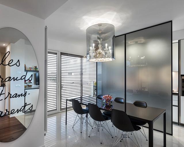 Ristrutturazione casa a schiera ab contemporaneo sala da pranzo bari di architetto - Soggiorno e sala da pranzo ...