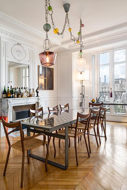 Appartement haussmannien transitional dining room for Appartement haussmannien decoration