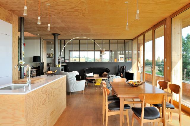 Maison contemporaine béton/bois - Contemporary - Dining Room - Lyon ...